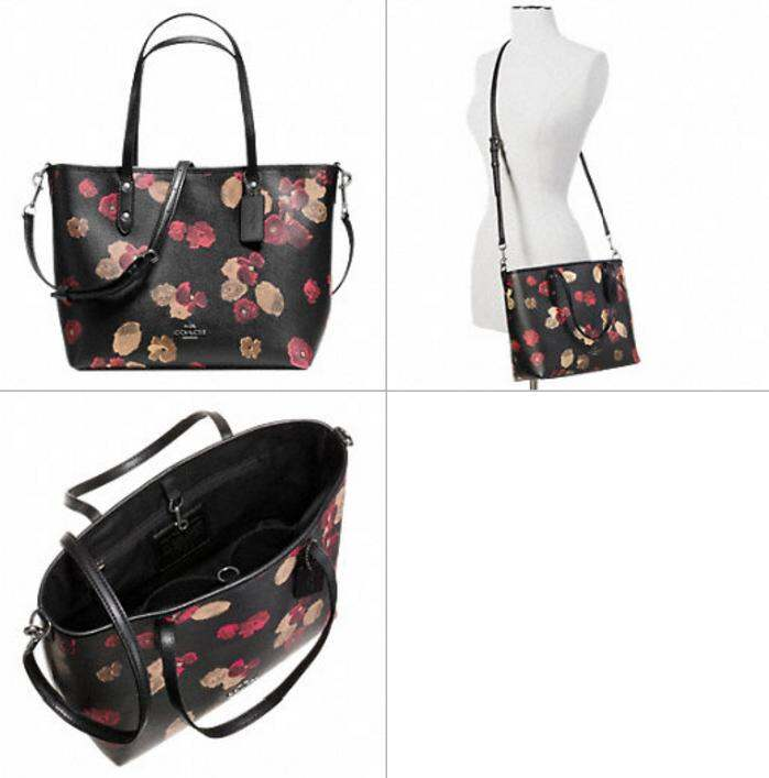 3344f0f876b62 SMALL METRO TOTE IN BLACK FLORAL COATED CANVAS STYLE  F36641 3 3 4